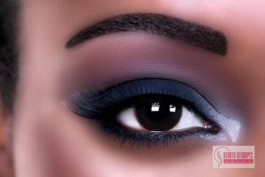 eyelash extensions, african american woman eye makeup