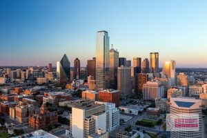 areas served, dallas, texas cityscape with blue sky at sunset, texas